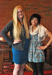 Louisburg College students Ashley Britton (left) and Riana Bowling co-produced the winning video in a contest sponsored by the General Board of Higher Education and Ministry in Fall 2012.