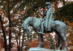 This larger-than-life statue of Bishop Francis Asbury is near the front of campus at Drew University in Madison, N.J. An 18th-century student at Drew Theological School received the first loan from the Methodist Episcopal Church.