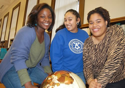 Usha Satish (center), Delrisha White and Raven Williams will become corps members with Teach for America after they graduate from Bennett College this spring.