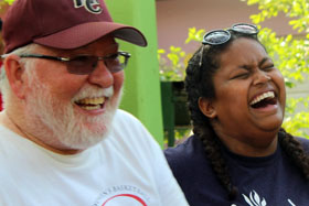 The Rev. Tim Harrison and one of the students at McKendree College enjoy a laugh. Courtesy photo