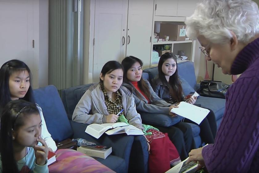 Mary Helen Marigza teaches children at Belmont United Methodist Church.