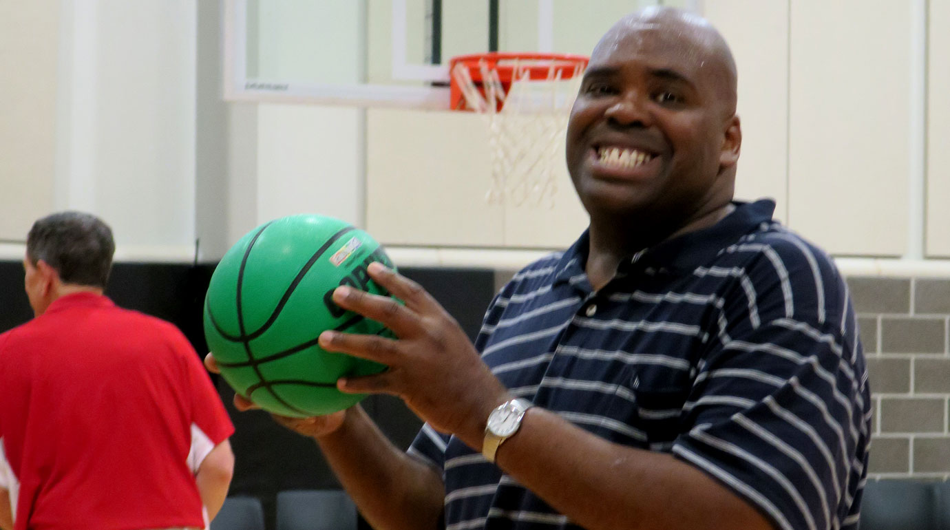 A basketball player enjoys the recreation ministry at The Woodlands United Methodist Church. Photo courtesy of The Woodlands UMC.