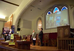 Skype connected worshippers in Bulgaria with their In Ministry Together partners in the United States during the mission celebration at Trinity on the Hill United Methodist Church in Augusta, Ga.