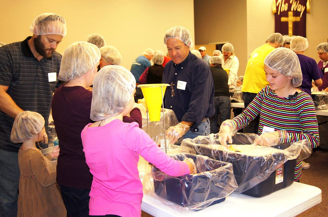 The people of Good Samaritan United Methodist Church, Lake Wylie, S.C., pack more than 20,000 meals to send overseas to families in need. Photo courtesy of Good Samaritan United Methodist Church.