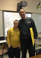 Home Missioner Scott Vickery poses with one of his students at Oak Grove High School in Hattiesburg, Miss., where he was a special education teacher until January 2013.