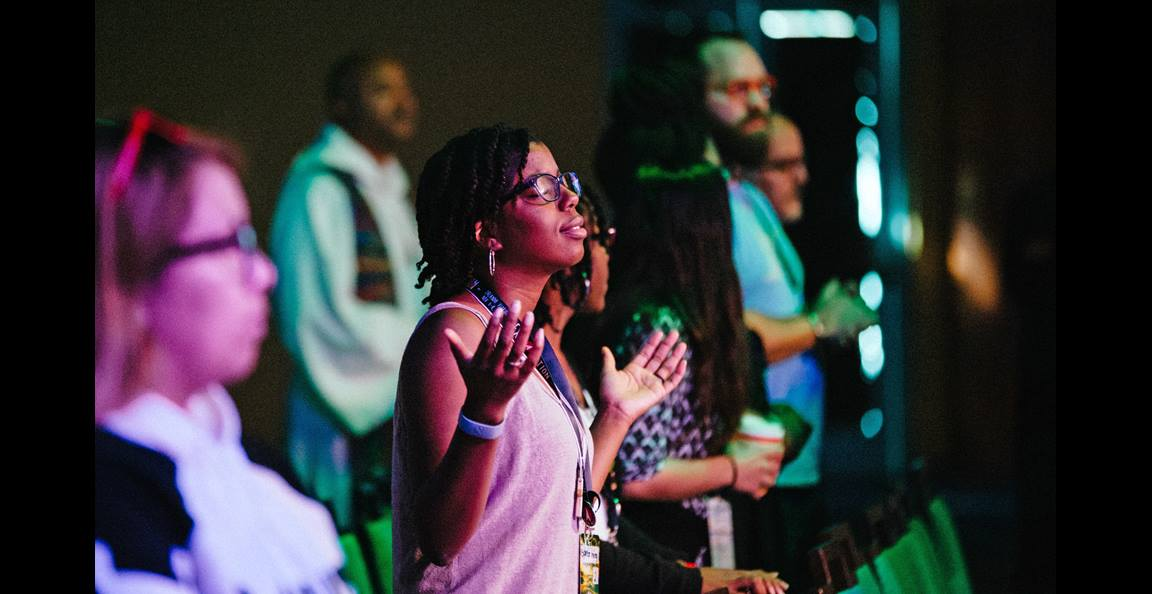 Praise and worship were offered throughout Exploration. Photo by Giffin Creative.
