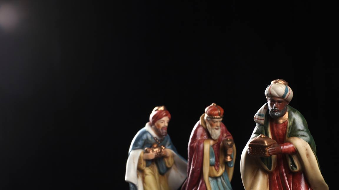 Nativity figures of the three wise men. Photo illustration by Kathleen Barry, United Methodist Communications.
