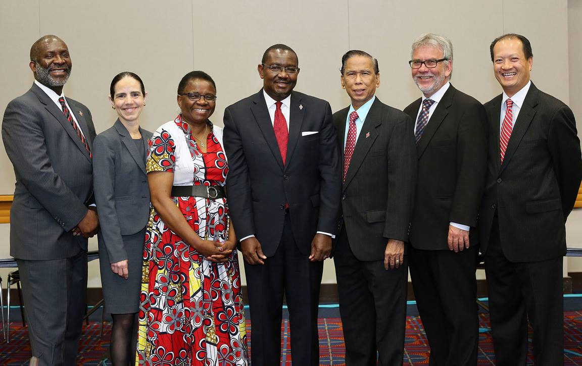 Members of the United Methodist Judicial Council for 2016-2020 met briefly during General Conference 2016. From left are the Rev. Dennis L. Blackwell, Beth Capen, the Rev. J. Kabamba Kiboko, N. Oswald Tweh Sr., Ruben Reyes, the Rev. Øyvind Helliesen, and the Rev. Luan-Vu Tran of Lakewood, Calif. Not pictured are Deanell Reese Tacha and Lídia Romão Gulele. Photo by Kathleen Barry, UMNS.
