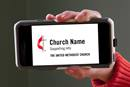 Branding service lets churches add their information to official United Methodist logo and Cross and Flame templates. Photo by Kathleen Barry, United Methodist Communications.