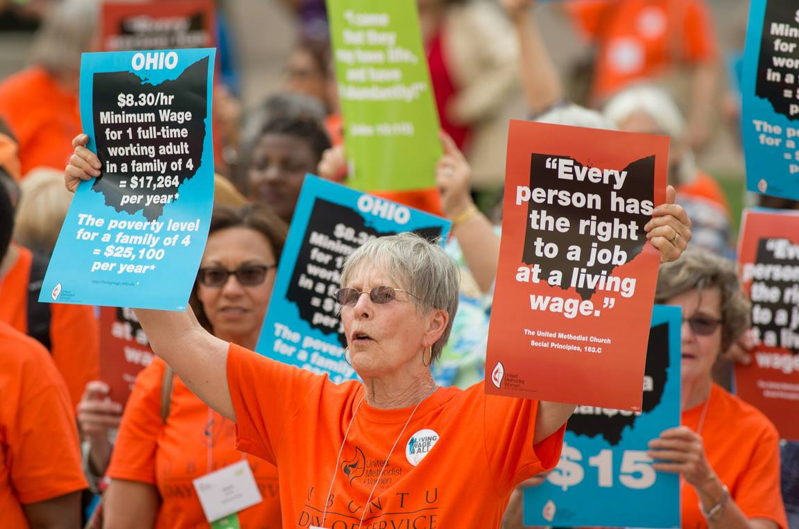 Joni Lincoln (center) of the Upper New York Conference joins other United Methodist Women in a rally for a fair living wage on the steps of the Ohio Statehouse in Columbus during the United Methodist Women Assembly 2018 in May. File photo by Mike DuBose, UMNS.