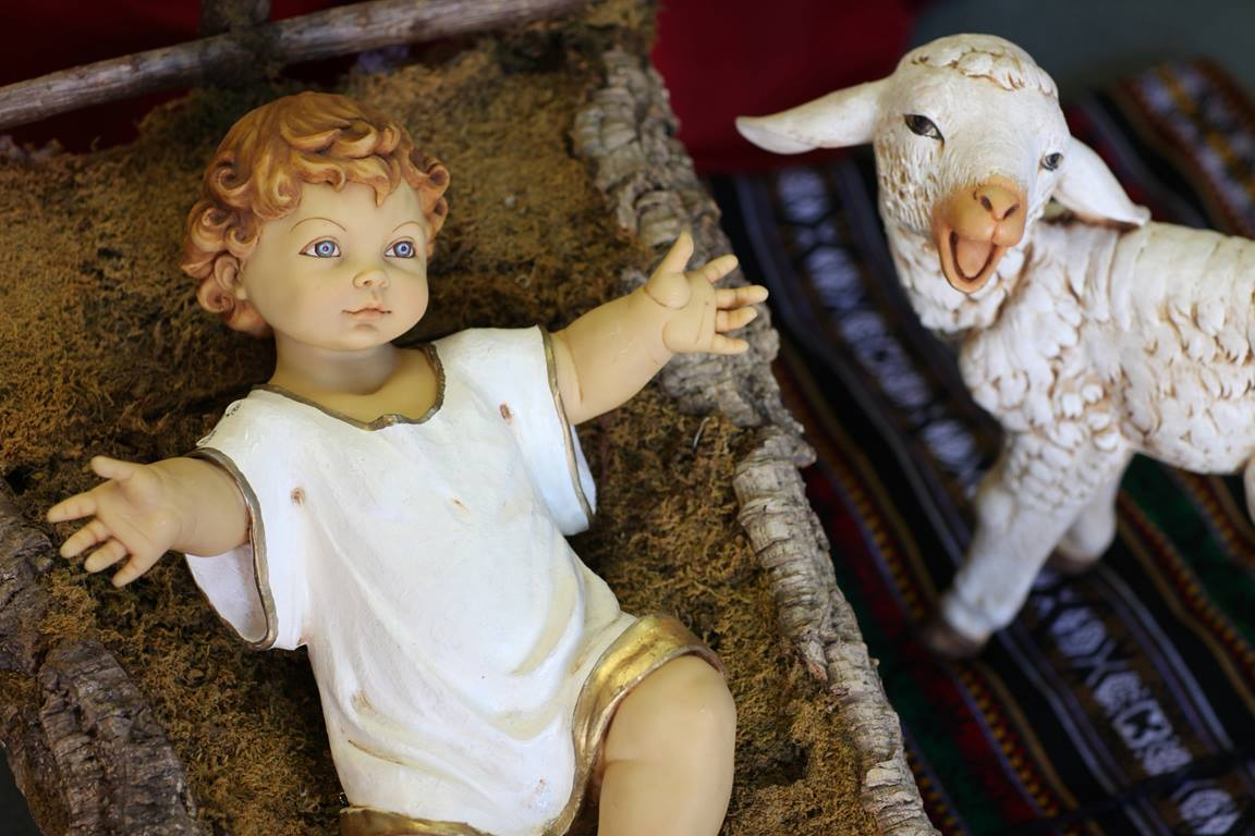 Baby Jesus and lamb Nativity figures. Photo by Kathleen Barry, UMNS