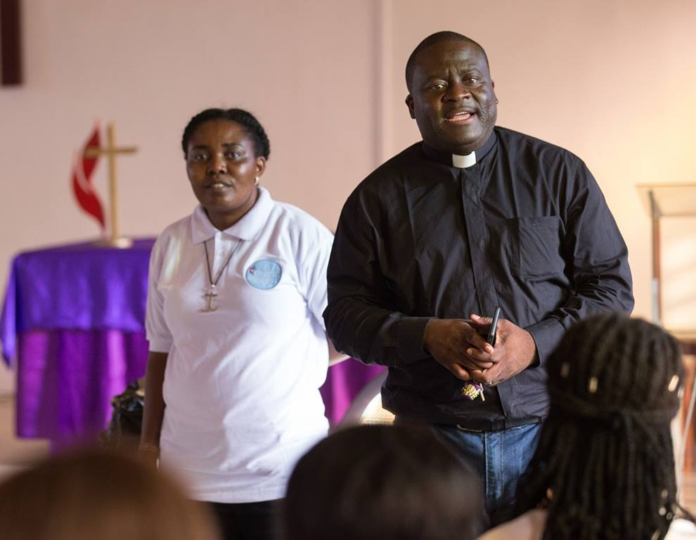 United Methodist missionaries Francine Mpanga Mufuk (left) and the Rev. Jean Claude Masuka Maleka lead a Bible study at Nazareth United Methodist Church in Abidjan, Côte d'Ivoire. The married couple are both from the Democratic Republic of Congo. Photo by Mike DuBose, UMNS.