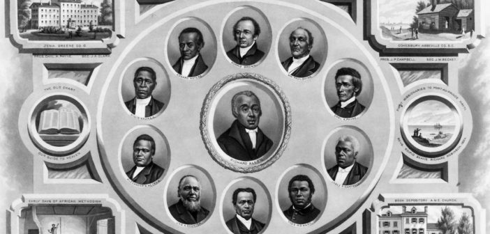 Richard Allen (center), the founder of the African Methodist Episcopal (A.M.E.) denomination, is depicted with other bishops in this 1876 lithograph. Scenes surrounding the portraits include Wilberforce University, Payne Institute, missionaries in Haiti, and the A.M.E. church book depository in Philadelphia.