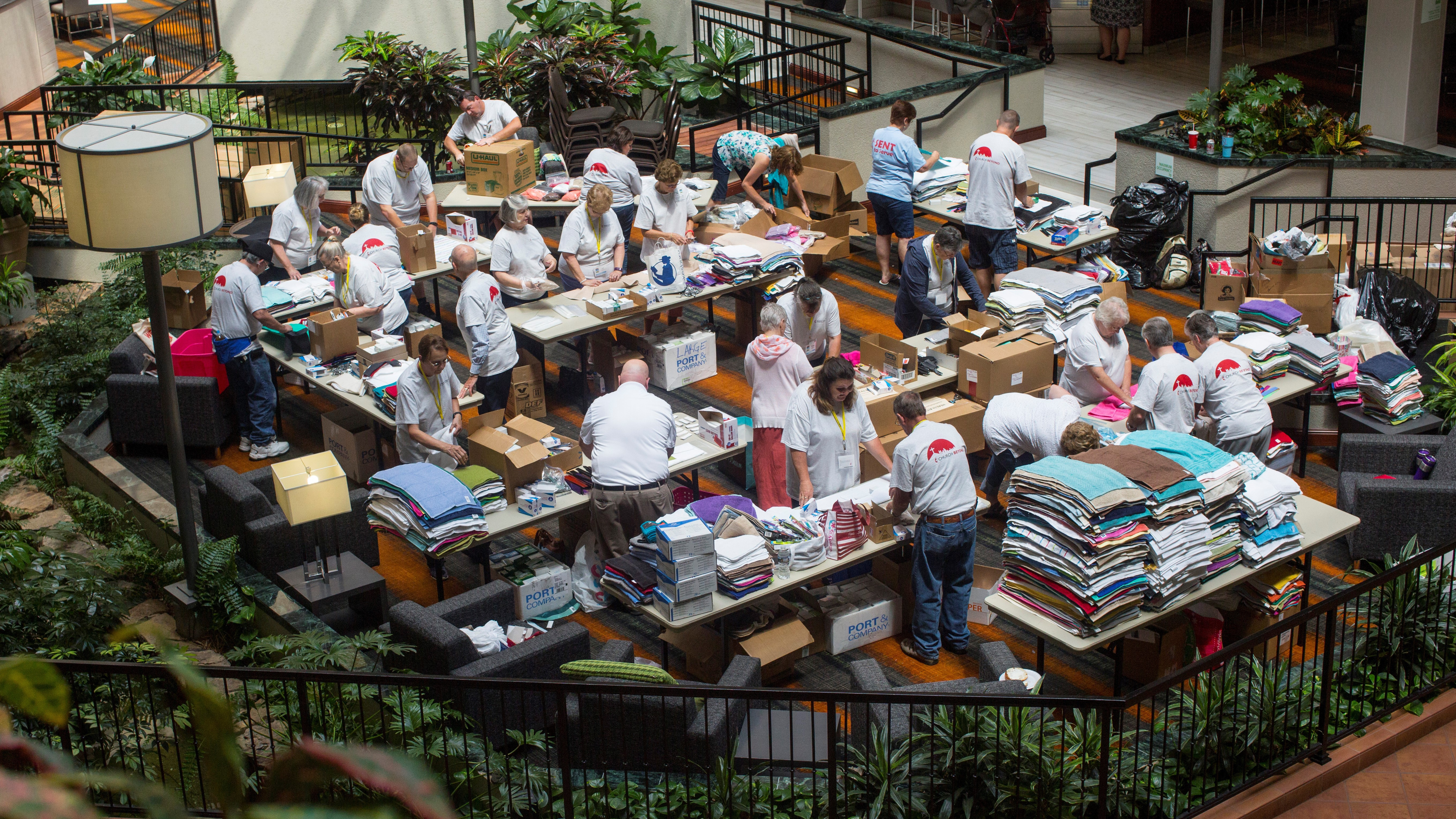 Health kits, now called hygiene kits, are assembled at the 2017 Kentucky Annual Conference for UMCOR. PHOTO: KATHLEEN BARRY