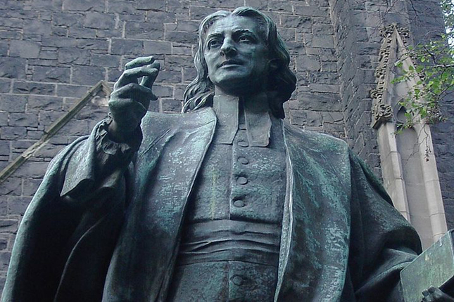 John Wesley is depicted as a young preacher in this sculpture by Adam Carr located in Melbourne, Australia. Public domain photo by Adam Carr/Wikipedia.