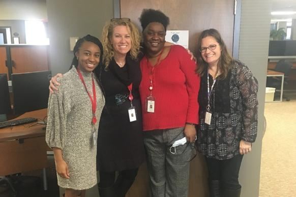 Photo courtesy of Linda Bruner  The Connectional Giving Team: (L-R) Project Specialist Saundrea Sampson, Senior Manager Linda Bruner, Senior Web Content Producer Lladale Carey and Project Specialist Christy Losee.