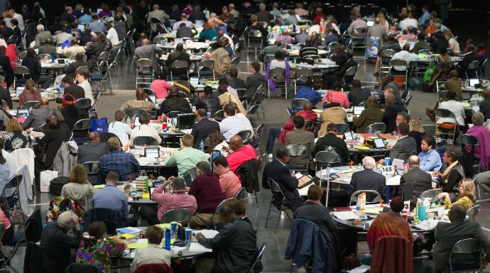 Photo by Mike DuBose, UMNS  Delegates consider legislation during the 2016 United Methodist General Conference in Portland, Ore.