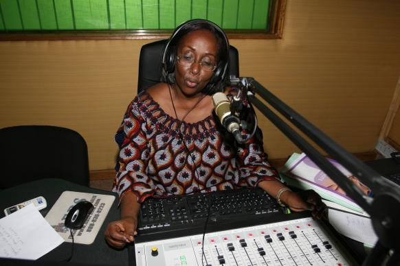 Tim Tanton/UMNS  Lydie Acquah, director of 101.6 FM in Abidjan, sees the Voice of Hope radio station as a means of combating poverty and empowering people in Cote D'Ivoire. The United Methodist Church launched the station in December 2010.