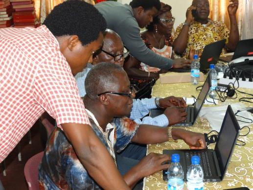 Photo courtesty of Phileas Jusu, United Methodist Communications  District superintendents attend a two-day training in Freetown in basic computer skills Sept. 8, 2016. The training, organized by John Yambasu (left), a Global Missionary Fellow in Sierra Leone, was to equip the superintendents — some of whom did not have computer knowledge before — to use laptops donated by United Methodist Communications upon their return to their districts.