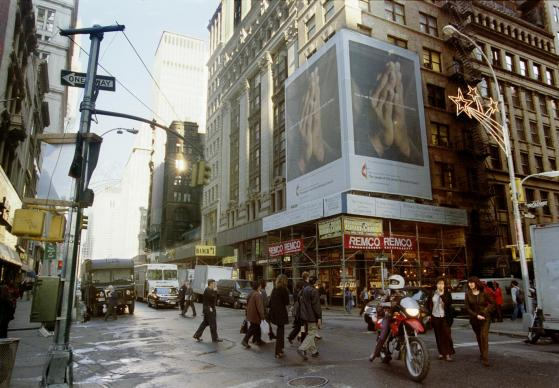 A 45-foot-high billboard in the Wall Street district of Manhattan was erected in November 2001, just two blocks from ground zero, to offer passersby a word of encouragement from United Methodists.