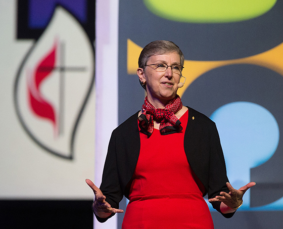 Harriett Olson helps lead the 150th anniversary celebration for United Methodist Women during the 2016 United Methodist General Conference in Portland, Ore. Olson is the chief executive of United Methodist Women. Photo by Mike DuBose, UMNS.