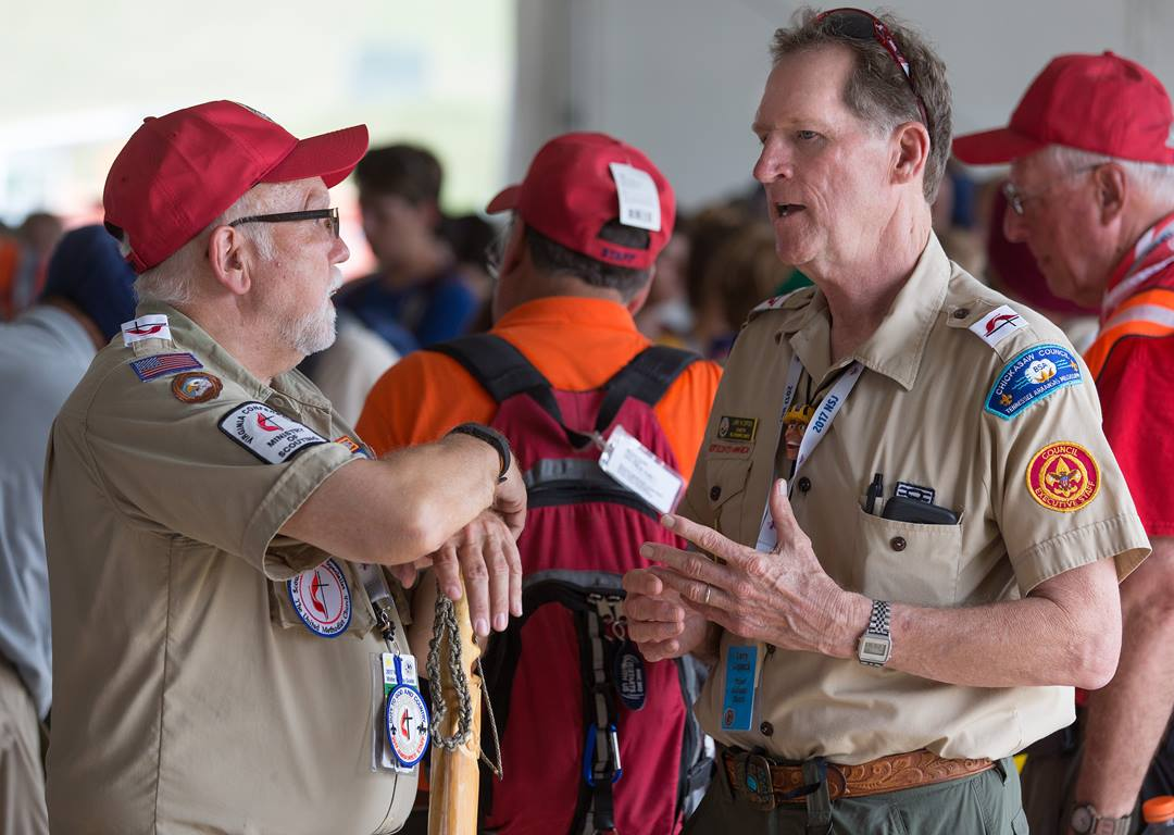 Larry Coppock (right) visits with Scouter Bill Chaffin at the 2017 National Scout Jamboree at the Summit Bechtel Reserve in Glen Jean, W. Va. Coppock is director of Scouting ministries for United Methodist Men. Photo by Mike DuBose, UMNS.