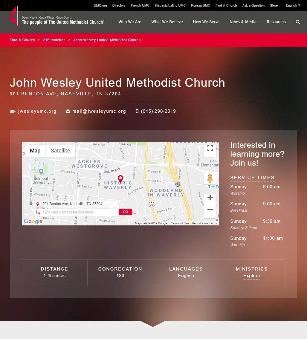 Ejemplo de Find-A-Church