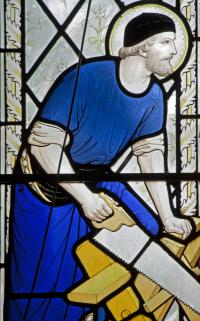 Stained glass window of Joseph