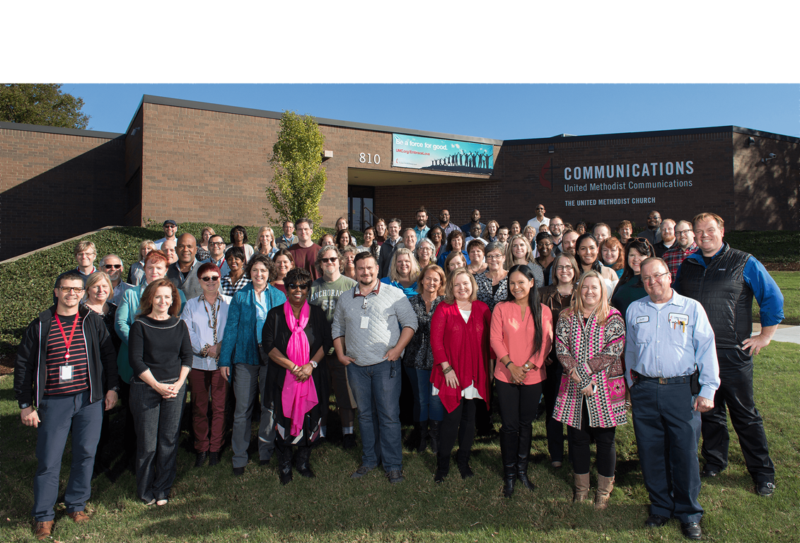 Staff of United Methodist Communications in Nashville, Tenn., gather for a group photo. 2017 file photo by Mike DuBose, UMCom.