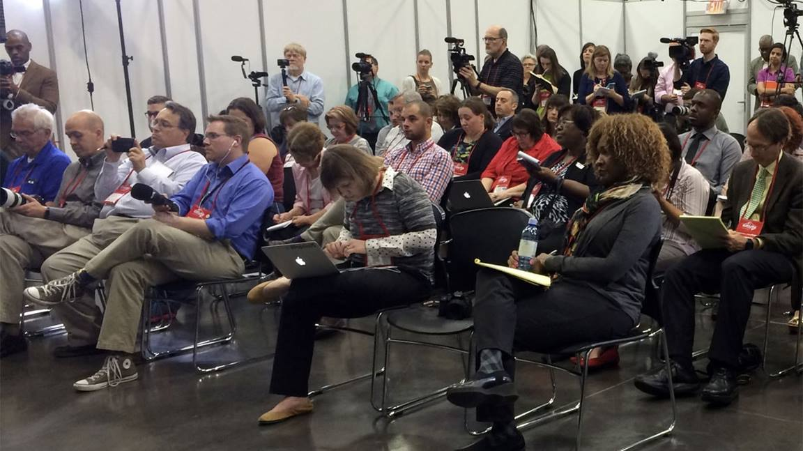 File photo shows press conference during GC 2016 in Portland.  Courtesy of United Methodist Communications.