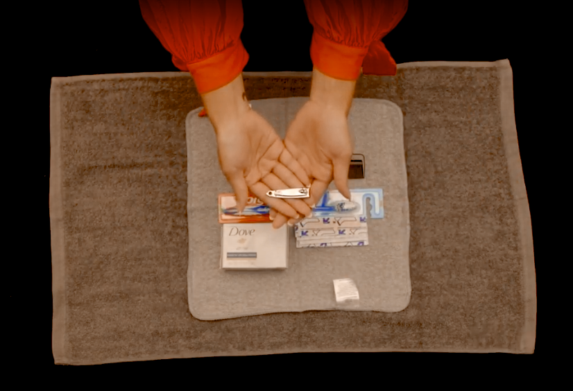 Instructions for assembling a hygiene kit for disaster response. Screengrab from UMCOR assembly video.