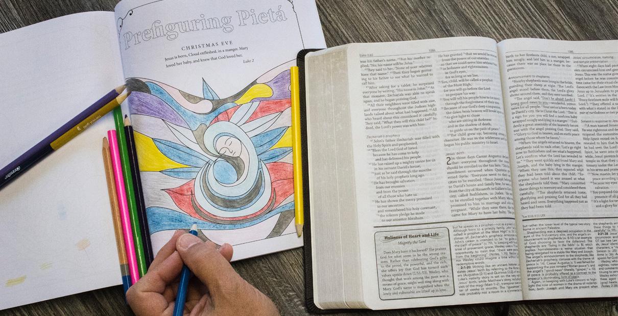색칠은 이번 아기 예수의 오심을 준비하는 대강절 묵상에 창의적인 방법이 될 수 있다. 사진, 캐서린 베리, 연합감리교회 공보부