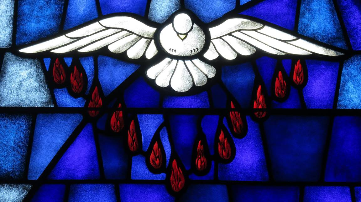 The Holy Spirit depicted as a dove. Stained glass window in Saint James the Greater Catholic Church, Concord, North Carolina. Wikimedia CC-BY-SA-4.0.