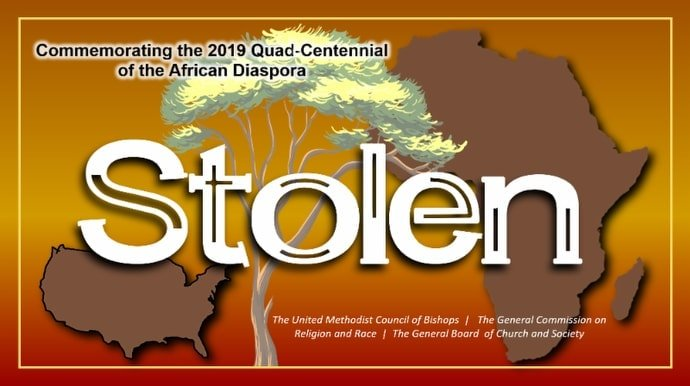 """""""Stolen"""" is described as """"a collection of resources and engagements to commemorate the quad-centennial of the first of the African diaspora brought to the American colonies."""" Courtesy of UM News. 2019."""