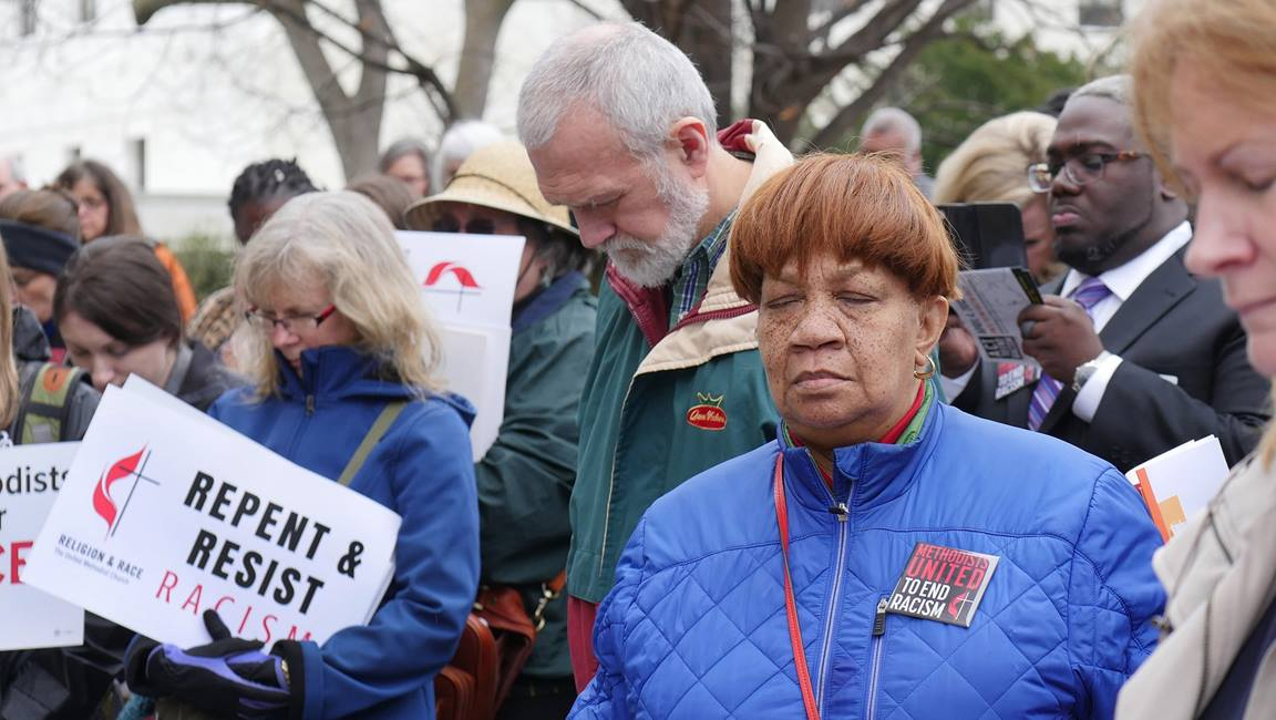 United Methodists gathered and prayed at an event leading up to a national rally to end racism. Photo by Kathy L. Gilbert, UMNS.