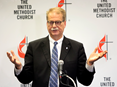 Bishop Kenneth H. Carter speaks to the press following the conclusion of the 2019 United Methodist General Conference in St. Louis. Photo by Kathleen Barry, UMNS.