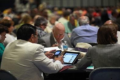 General Conference delegates in session.