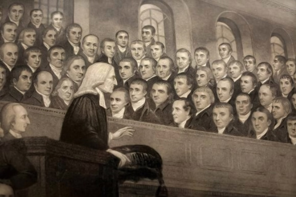 Engraving of Wesley preaching in the City Road Chapel in London. Courtesy of Wikimedia Commons.