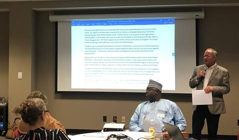 Bishop John Wesley Yohanna and others attending the meeting of the General Commission on Communication in Nashville, Tenn. on Oct. 1-2, 2019 listen to board member Tim Crouch.