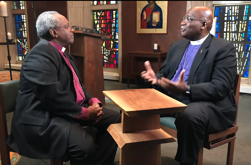 Bishop Gregory Palmer (co-chair of the dialogue committee) and Presiding Bishop of the Episcopal Church Michael Curry discuss full communion between the two denominations. Image courtesy of The United Methodist Council of Bishops.