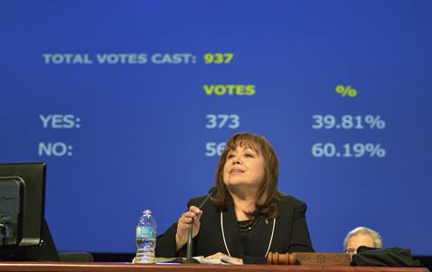 Bishop Minerva Carcaño surveys results of a vote on retaining guaranteed appointments for clergy during the 2012 United Methodist General Conference in Tampa, Fla. A UMNS file photo by Paul Jeffrey.