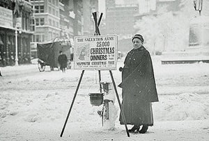 The kettles and bells of The Salvation Army have been part of the Christmas collection for many years. Photo public domain via The Library of Congress.