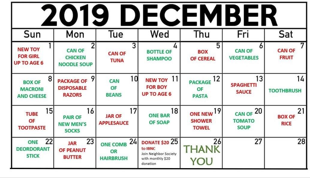 Imperial Beach Reverse Advent Calendar. Courtesy of Imperial Beach Neighborhood Center 2019.