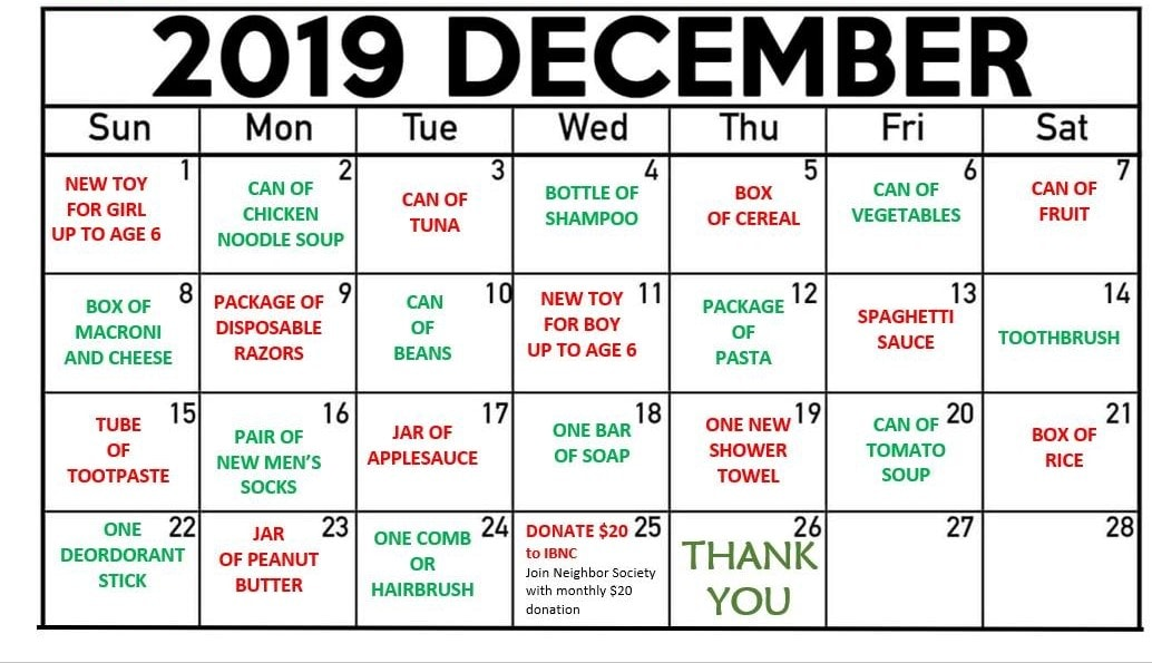 Imperial Beach Reverse Advent Calendar. Courtesy of Imperial Beach Neighborhood Center 2019.