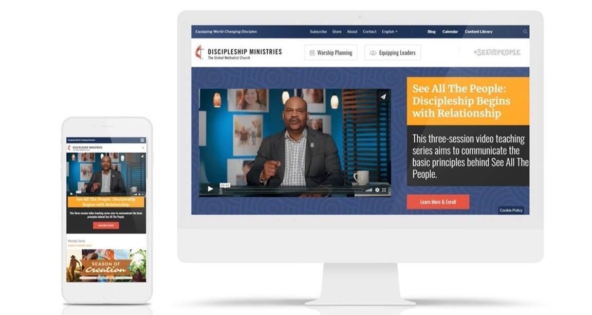 Discipleship Ministries new mobile-friendly website. Courtesy of Discipleship Ministries. 2019