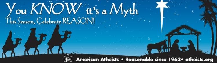 """2010년 미국무신론자 모임에서 세운 """"성탄절은 신화이다""""라는 옥외 광고. 사진 온빙잉, 미국무신론자 모임, flickr.com"""