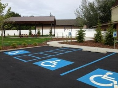 Moran UMC's parking lot illustrates fully accessible parking.  Courtesy of UM Disability. October 2019