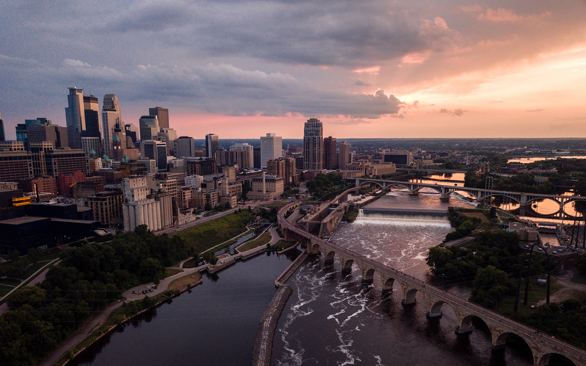 An aerial view of Minneapolis, Minnesota. Photo by Nicole Geri, Unsplash.