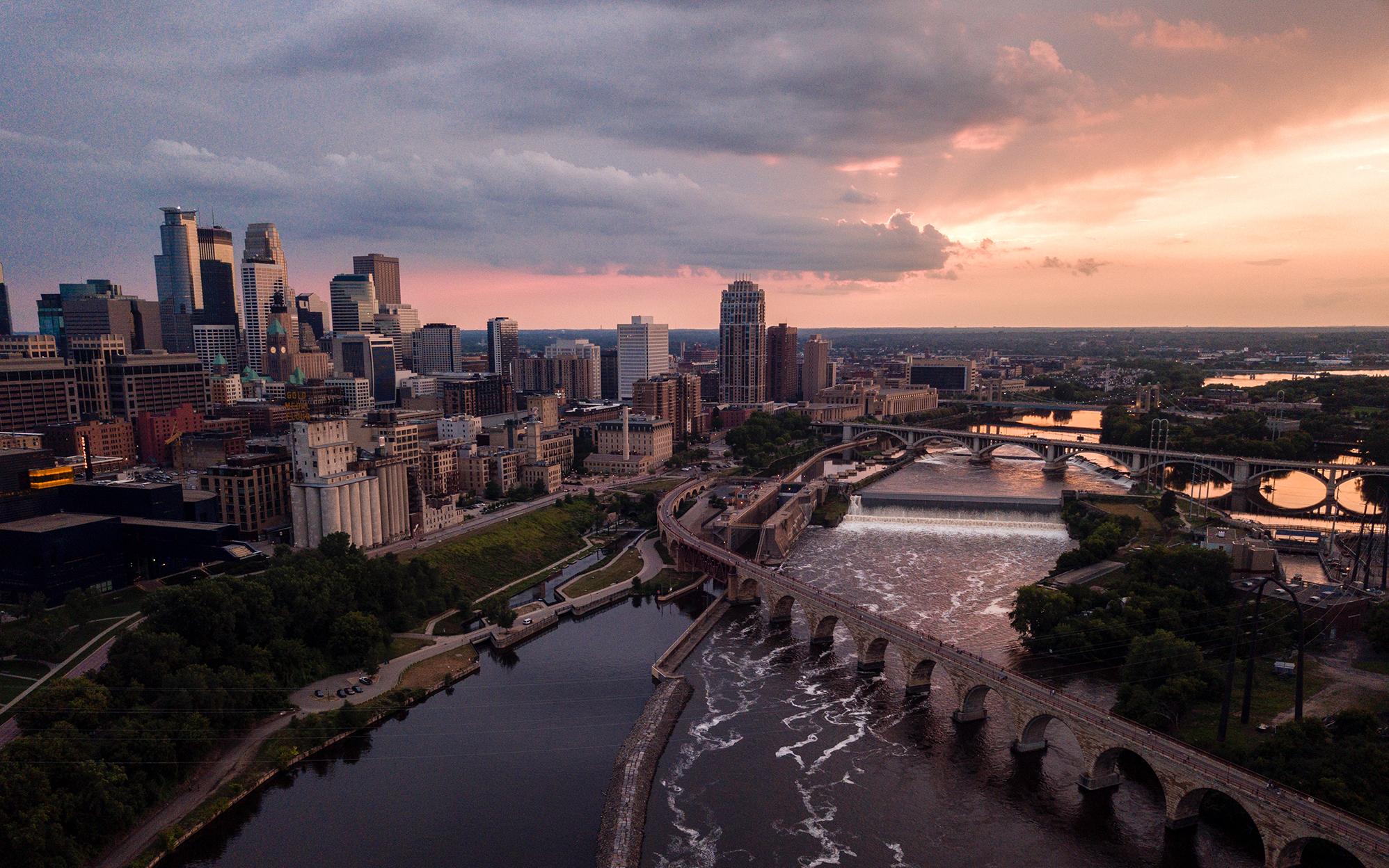 An aerial view of Minneapolis, Minnesota. Photo by Nicole Geri, Unsplash.