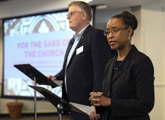 Bishop Christian Alsted and The Rev. Kennetha Bigham-Tsai direct the Connectional Table's discussion about the special session of General Conference, held at United Methodist Discipleship Ministries in Nashville, Tenn., April 3. Photo by Kathleen Barry, UM News.